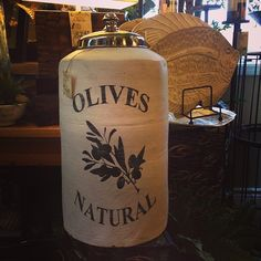 huge decorative jar / jug / vessel with olives natural text   Follow us on Instagram, too.  Our photo will take you there.