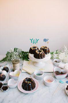 Constellation Inspiration: Sour Cream Chocolate Bundt Cakes + Chocolate Peanut Butter Cake Truffles