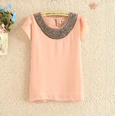 Nude Short Sleeve Bead Chiffon Blouse