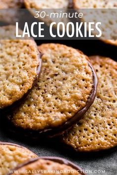 Made from only 6 ingredients, these easy lace cookies are ready in 30 minutes and they taste like sweet brown butter and caramel. Sandwich with a little chocolate for an extra special treat. Recipe on sallysbakingaddiction.com