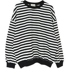 Black Stripe Drop Shoulder Long Sleeve Sweatshirt (€28) ❤ liked on Polyvore featuring tops, hoodies, sweatshirts, sweaters, shirts, jumpers, long sleeve tops, polyester shirt, striped long sleeve top and shirt top