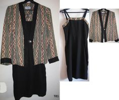 T81 WOMANS DRESS WITH JACKET SMALL  BLACK GREEN BEIGE CREPE FABRIC #MirellasFashionDesign #Casual