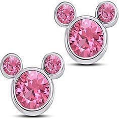 Disney Micky Mouse in Heart Stud Earrings 14K White Gold Fn Pink Sapphire CZ Stone Alloy Womens Girls Kids Jewellery