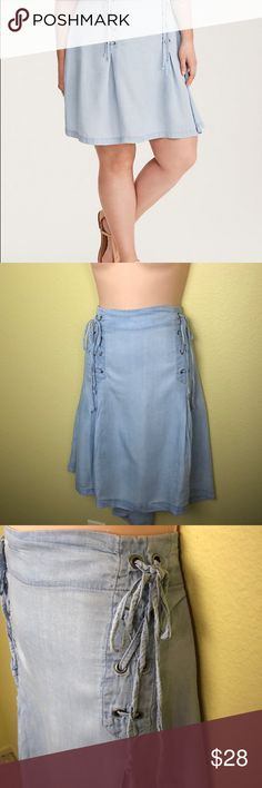 Torrid Denim Lace up mini skirt 16 Super cute skirt by torrid  Very soft fabric Invisible zipper up the back Size 16 New without tags Waist 42 and stretched overall length 24 inches Check my other listings for more great pieces torrid Skirts Mini