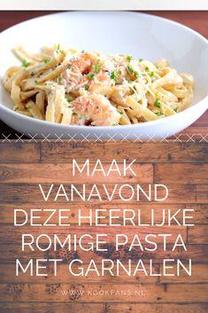 Pasta Alfredo is romig en heerlijk Pasta Alfredo, Penne Pasta, Healthy Pastas, Healthy Recipes, Risotto, Happy Foods, Scampi, Looks Yummy, Pasta Recipes