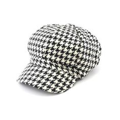 Black And White Houndstooth Polyester Cabbie Hat.