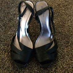Black heels Black heels cute and comfy. I can't find the size, but I wear an 8-9 and they fit me. Charlotte Russe Shoes Heels