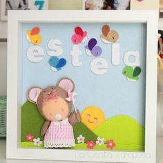 Estela. Framed #felt nursery bedroom little girls name & wall art