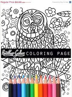 50% Off- Owl Instant Coloring Book Page DIY Art Instant Digital Download Print HEATHER GALLER - Coloring Page (Cp3479)