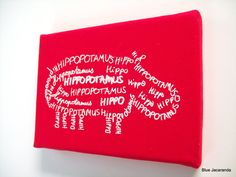 Nursery Art Hippo Screen Print Word Art  White on Red Stretched on Canvas. $15.00, via Etsy.