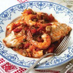 Red Snapper Veracruz Casserole served on a bed of Quinoa