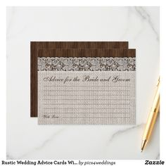 Shop Rustic Wedding Advice Cards With Burlap & Lace created by Personalize it with photos & text or purchase as is! Wedding Advice Cards, Burlap Lace, Happy Marriage, Smudging, Paper Texture, Rustic Wedding, Bridal Shower, Writing, Feelings
