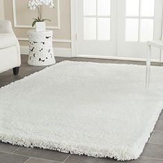 Safavieh Ultra Classic Shag Collection SG140A Handmade White Area Rug 76 x 96 >>> Read more reviews of the product by visiting the link on the image.