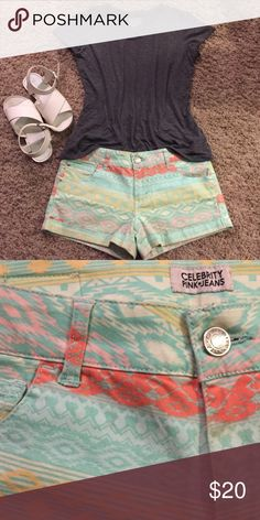 Tribal Print Shorts Super fun and comfortable shorts. Only worn a 2 or 3 times. 98% cotton 2% spandex. Bundle and save! 💐 Celebrity Pink Shorts