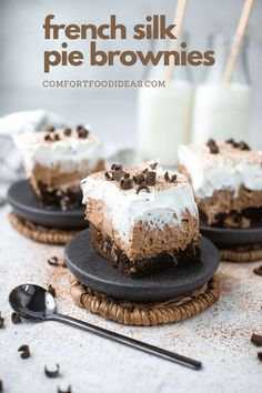 French Silk Pie Brownies: The ultimate dessert for chocoholics! Three layers of Fudgy brownie, French Silk Pie, with whipped topping and chocolate shavings. YUM! #frenchsilkpiebars #frenchsilkpiebrownies #chocolatedesserts #chocolaterecipes #semihomemade #simplefood #food #deliciousfood #delicious #easyrecipes #brownies #elevatedfood #desserts #tastyrecipes