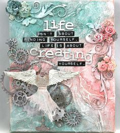 Moments of Tranquility. by Natasha Naranjo Aguirre: Creating Yourself Canvas Mixed Media Mixed Media Journal, Mixed Media Canvas, Mixed Media Collage, Mix Media, Art Journal Pages, Art Journals, Altered Books, Altered Art, Canvas Art Quotes