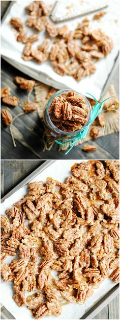 Maple Glazed Pecans are incredibly easy to make and are so delicious on top of ice cream or yogurt, in salads, or on their own!---- is use coconut sugar Appetizer Recipes, Snack Recipes, Dessert Recipes, Cooking Recipes, Appetizers, Just Desserts, Delicious Desserts, Yummy Food, Pecan Recipes