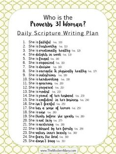 Scripture Writing Plan for the [modern] Proverbs 31 Woman - Click for the FREE PRINTABLE!!