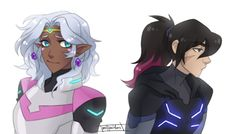 Keith and Princess Allura in their different hair styles from Voltron Legendary Defender Form Voltron, Voltron Ships, Voltron Klance, Voltron Allura, Voltron Memes, Keith And Allura, Princess Allura, Voltron Force, Keith Kogane