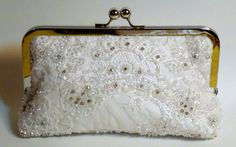 Bridal Clutch Delicate Beaded Ivory Clutch  READY TO SHIP Ooak on Etsy, $86.58 CAD