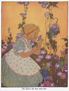 """The flowers lift their faces fair. """"When Little Thoughts Go Rhyming"""" by Elizabeth Knobel, illustrated by Maginel Wright Enright. Copyrighted by Rand McNally & Co., 1916. Edition of 1936. 32 pages, with black/white decorations on nearly every text page, and 10 full page (5.25 x 6.25 inch) illustrations."""