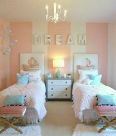 Kids room ideas for girls sisters shared bedrooms twin ideas - Room Design Girls Twin Bed, Teenage Girl Bedrooms, Shared Bedrooms, Girls Bedroom, Bedroom Decor, Twin Beds, Baby Beds, Bedroom Ideas, Cozy Bedroom