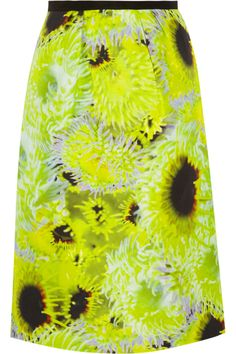 TibiAthena neon silk, linen and cotton-blend skirt