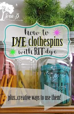 An easy summer project to do by yourself or with the kids is to dye wood clothespins with RIT dye. Over the years, I've amassed quite a few in different colors. They're so easy, fun a… Dye Clothespins, Clothes Pin Wreath, Rit Dye, Easy Projects, Craft Projects, How To Dye Fabric, Vintage Fabrics, Decoration, Diy And Crafts