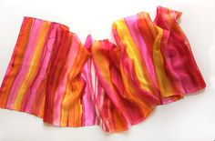 Stripes scarf/ Hand painted silk scarf/ Bright summer by klaradar