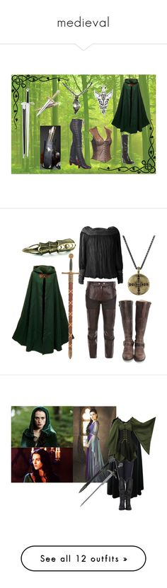 """medieval"" by alexxschiffer ❤ liked on Polyvore featuring WALL, Rampage, S.W.O.R.D., lace, green, elven, leather, archery, cloak and renaissance"