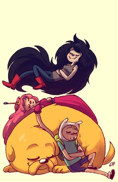 my bro asked me to draw him a pic for his phone so here. look bro its Adventure Time related you better like it. :') Tags: Adventure Time Princess Bubblegum Marceline Abadeer Finn Mertens Jake The Dog Cartoon Network, Marceline And Bubblegum, Jake The Dogs, Dog Books, Bubbline, Adventure Time Anime, Cute Little Things, Princess Bubblegum, Amazing Art