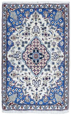 Design Fine Persian NAIN   Size 2'9 X 4'4   Color Azure , Desert Storm - Multi-Colored Knot technique 100% Hand Knotted rug Foundation Cotton Pile 100% Fine Woo