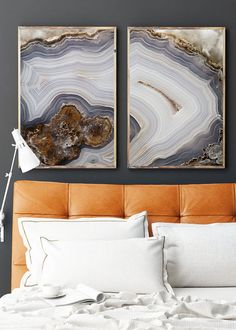 Set of 2 Agate Prints  - Prints (Print #056 & 057) - choose Fine Art Print or CANAVS - Mineral Geode Agate Decor