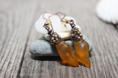 Sea glass Earrings Mini Conch Desert Gold Dangle Cultured Beach Glass Jewelry Earrings on Handmade Artists' Shop Shell Earrings, Glass Earrings, Glass Jewelry, Conch, Wire Work, Glass Design, Handmade Art, Sea Glass, Dangles
