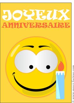 Carte Joyeux anniversaire Smiley et bougie pour envoyer par La Poste, sur Merci-Facteur !