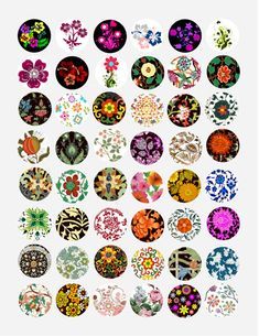 ornamental deco flowers art clipart digital download COLLAGE SHEET printable graphics 1 inch circle images