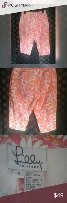 LILLY PULITZER Butterfly/ Daisy Capri/cropped.🌺HP These are nwot.  Never worn. Very cute crop pants. Daiseys and butterfly print small slit on side as shown in pic. Lilly Pulitzer Pants Ankle & Cropped
