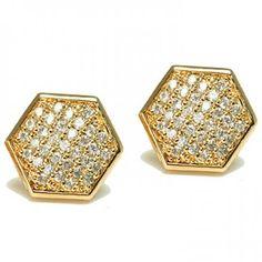 Mens Unisex Gold Vermeil Micro Pave Hexagon Stud Earrings 11mm