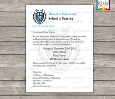 PRINTABLE Monster University Acceptance Letter Invitation - Personalized Digital Invitation 8.5x11 .pdf on Etsy, $9.99