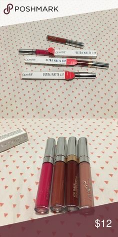 BUNDLE! Colourpop  ultra matte lip Colors: time square, mars, rocky, love bug.  I bought too many colourpop product at once, and the ultra matte lip does not work well on my chapped lips. They are all brand new! Btw I lost the case for love bug. Colourpop Makeup Lip Balm & Gloss