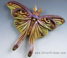 Moth focal bead, polymer clay by Christi Friesen.   #polymer #insect  #moth  #fantasy  #ChristiFriesen