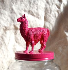 Fabulous Hot Pink Llama Cookie Jar by DangerCatByEmeli on Etsy, $35.00 -- Pretty sure I NEED this.