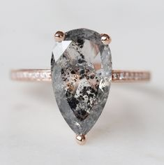 Imani Ring with a 4.07 Carat Celestial Pear Diamond and Accent Diamonds in 14K Rose Gold - Ready to size and ship - Midwinter Co. Alternative Bridal Rings and Modern Fine Jewelry Bridal Rings, Bridal Jewelry, Wedding Rings, Diamond Chart, Pear Diamond, Colored Diamonds, Black Diamonds, Fashion Rings, Metal Working