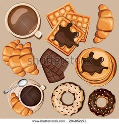 Cartoon sweets set with belgian waffles, chocolate, coffee, croissant, cappuccino and pancakes. Vector illustration