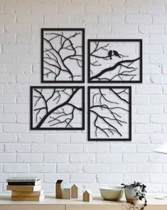 Tree Branches with Lovely Birds, 4 Pieces Metal Wall Art,Modern Rustic Wall Decor,Living Room Home Decor, Special Design New Home Gift Wall Art metal wall art Wall Decor Design, Unique Wall Decor, Rustic Wall Decor, Metal Wall Decor, Diy Wall Decor, Modern Decor, Farmhouse Decor, Modern Rustic, Art Decor