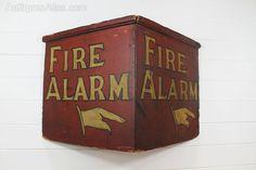 Antique Wooden Fire Alarm Sign