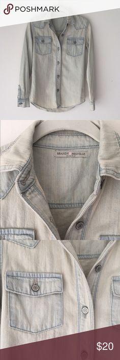Brandi Melville chambray light denim shirt Brandi Melville light denim/chambray shirt.  One size fits all but I would say it's a S/M.  Can be worn as a shirt or light jacket.  Never worn Brandy Melville Tops