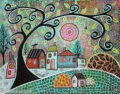 Only Birds 14x11 Birds Houses Trees ORIGINAL Canvas PAINTING FOLK ART Karla G