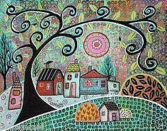 Only Birds 14x11 Birds Houses Trees ORIGINAL Canvas PAINTING FOLK ART Karla G