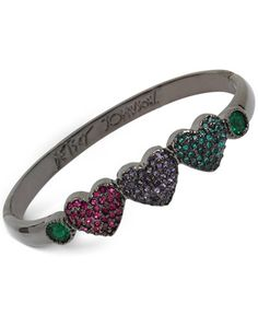 Betsey Johnson Hematite-Tone Pavé Heart Bangle Bracelet
